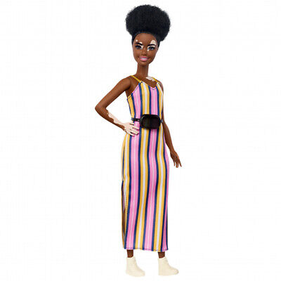 Barbie GHW51 Fashionistas Doll Curly Brunette Hair with Vitiligo Wearing Dress