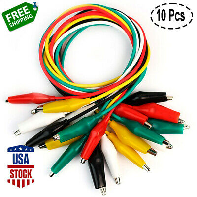 10pc Test Leads With Alligator Clips Electrical Cable Insulated Double-end 24agw
