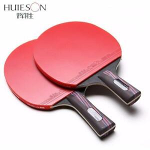 Huieson Carbon Fiber Table Tennis Racket Double Face Pimples-In Rubber Bat With Bag