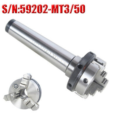 Mt3 Mini Lathe Chuck 3 Jaw Self Centering Metal 50mm Diameter Morse Taper Shank