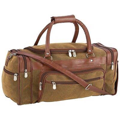 "23"" Brown Vegan Leather Duffle Tote Bag Gym Travel CarryOn Mens Satchel Luggage"