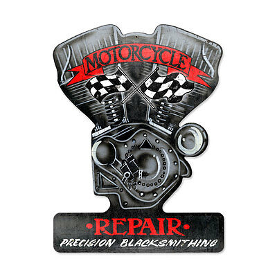 MOTORCYCLE REPAIR Schild 48cm Metall USA sign Motor Twin Engine Harley Indian