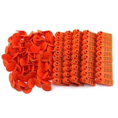 Orange Plastic 201-300 Number Animal Livestock Ear Tag Set For Goat Sheep Pig