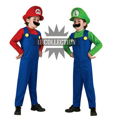 Super Mario Bros.Costume Outfit Mario and Luigi Carnival Cosplay Dress Hat](Mario And Luigi Girls)