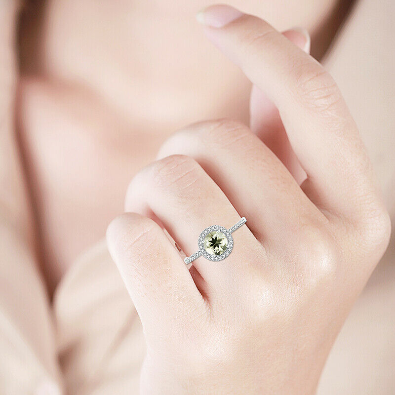 Engagement Wedding 6mm Round Peridot /&Natural Diamonds Sterling Silver Ring Gift