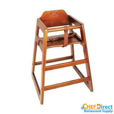Restaurant Wooden High Chair / Child Seat with Seat Belt - Walnut Finish