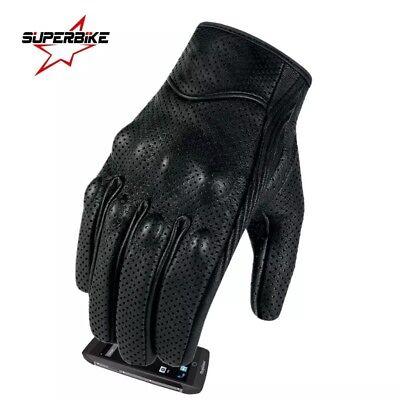 Motocycle Gloves Goatskin Leather Touch screen Men Women Electric Bike Glove  - Electric Mens Glove