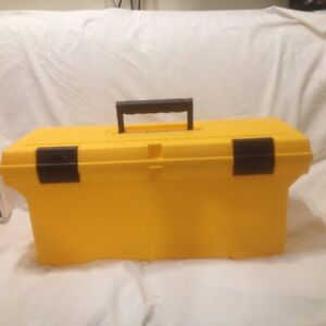 "Large 24"" Yellow Plastic Rubbermaid Tool Box"