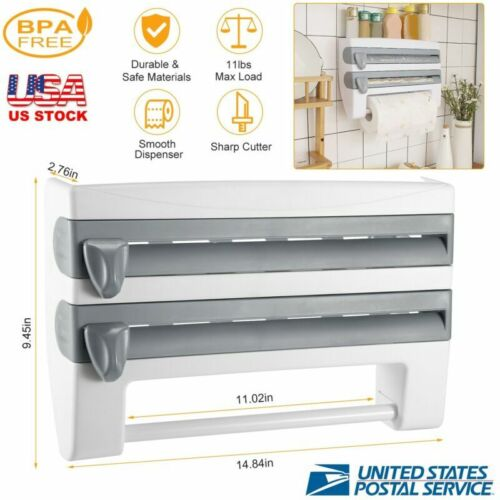 Wall Mount Kitchen Plastic Wrap Film Foil Paper Rack Paper Roll Dispenser Holder