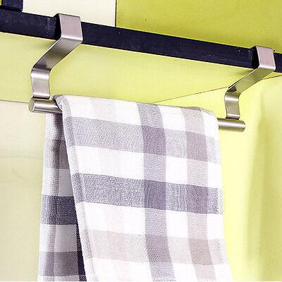 Stainless Steel Cabinet Hanger Over Door Kitchen Towel Holder Drawer Hook Silver