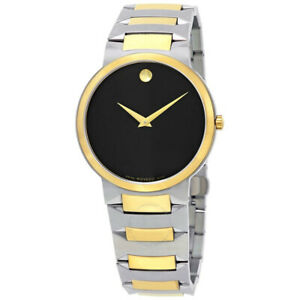 MOVADO MEN'S BLACK DIAL TWO-TONE WATCH