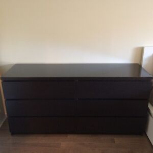 IKEA Malm Dresser with Glass Top
