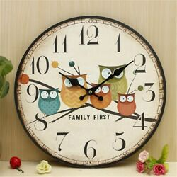 Wooden Owl Wall Clock Large Vintage Rustic Shabby Retro Kitchen Home Decor US