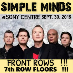 SIMPLE MINDS @ SONY– INCREDIBLE 7th ROW FLOOR TICKETS