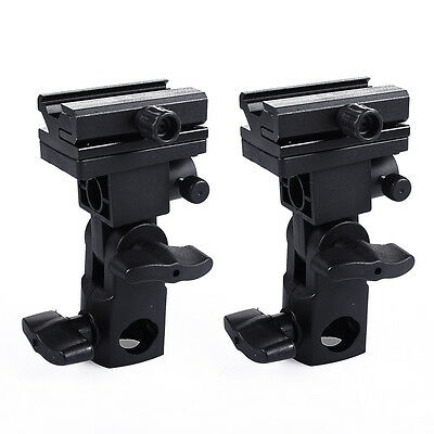 2 Photograhy Flash Adapter Shoe Swivel Light Stand Mount Umbrella Holder Bracket