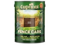 ONE COAT FENCE TREATMENT PAINT - NOT OPENED - FOR WOODEN FENCE - SHED - GATE (( TWO 5LTR TINS ))