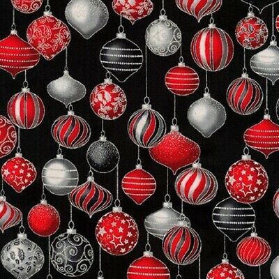 Winter's Grandeur Scarlet Christmas Ornament Kaufman Fabric by 1/2 Yd #18384-93 ()