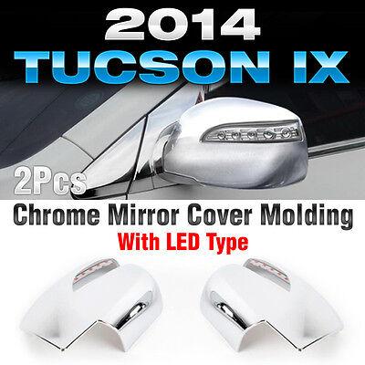LED Chrome Side Mirror Cover For 10 11 12 13 Hyundai Tucson ix35