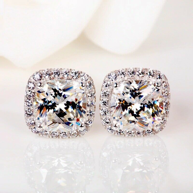 Jewellery - Crystal Square Stone Stud Earrings 925 Sterling Silver Womens Jewellery Gift New