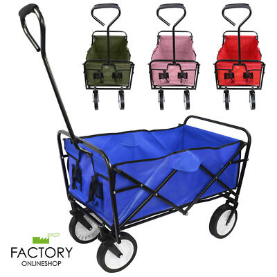Wagon Cart Kid Beach Collapsible Folding Camping Trolley Garden Utility (Foldable Utility Cart)