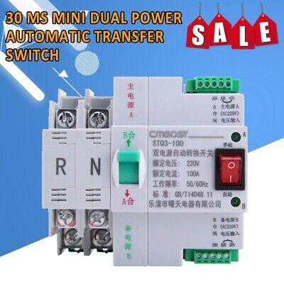 30 Ms Mini Dual Power Automatic Transfer Switch 2p 100a 220v Generator Pv