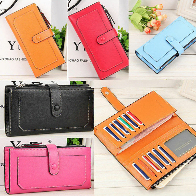 Wallets for Women Large Capacity Leather Bifold Wallet with Zipper Coin Purse US Clothing, Shoes & Accessories