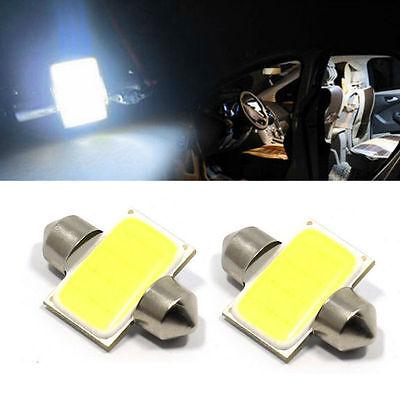 2pcs 31mm 12 SMD COB LED T10 6W White Light Car Interior Lights Dome Lamp Bulbs