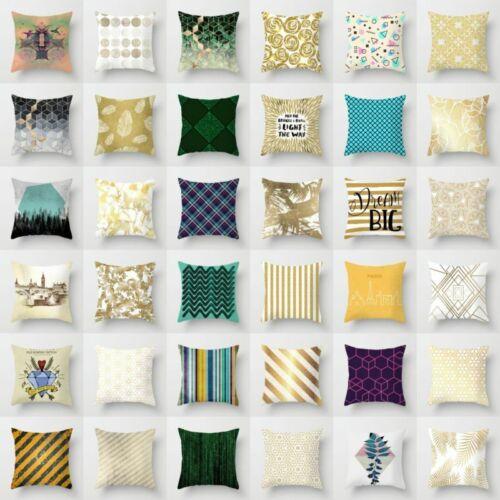 "18"" Polyester Gold Shining Printed Pillow Case Sofa Cushion"