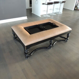 100% leather coffee table with tray inserts