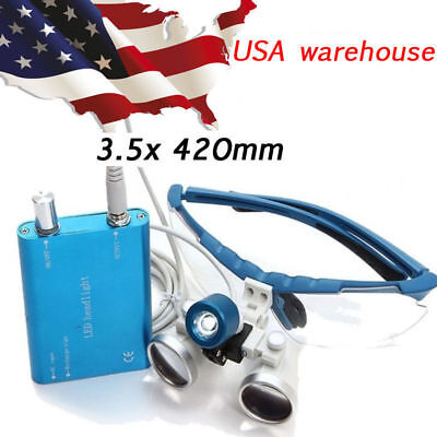 Usa Dental Clinic Surgical Medical Binocular Loupes3.5x420mm With Led Head Light