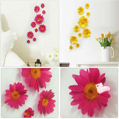 US 10pcs Removable 3D Daisy Flower Wall Door Sticker Kids Room Decal Mural Decor - Daisy Decorations