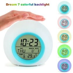 Colorful LED Round Light Gradient Alarm Clock Bedroom Home Gift For Child Kid US