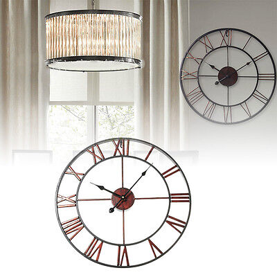 3D Iron Classic Large Metal Wrought Iron Wall Clock Roman Numerals Clock
