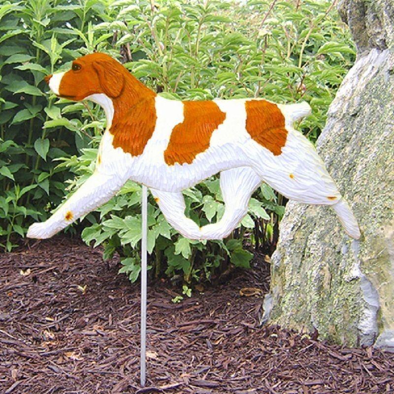 Brittany Spaniel Outdoor Garden Dog Sign Hand Painted Figure Orange