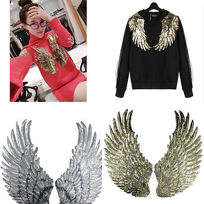 Embroidered iron on patches clothes Wings design sequins DIY Motif Applique (Embroidered Wings)