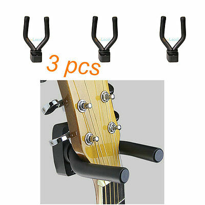 3x Guitar Bass Wall Mount Hanger Hook Holder Display Instrument Stand Adjustable