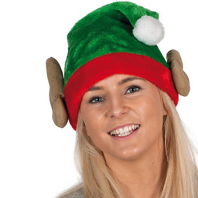 Ugly Elf Body Christmas Xmas Plush Elf Hat With Ears One Size - Elf Hat With Ears