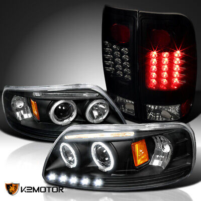 Fit Ford 1997-2003 F150 Halo Projector Headlight+Glossy Black LED Tail Lamps