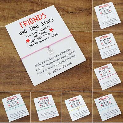 Friendship Best Friends are like Stars Charm Bracelet + wish lucky Card - Best Friends Bracelet