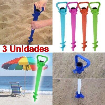Pack 3 Pinchos soportes base para sombrilla, Largo 37,3 cm,playa,piscina,jardín
