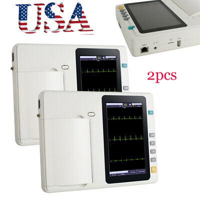 2xhospital Portable 12-lead 3-channel Electrocardiograph Ecgekg Machine Battery