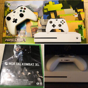 Xbox 1S White 500GB  + Mortal Kombat XL + 2 Media Remotes - $320