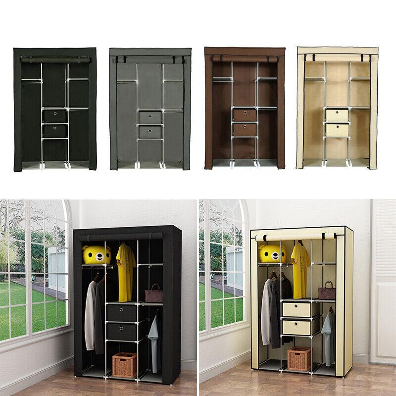 "63"" Portable Wardrobe Closet Storage Organizer Clothes Hangi"