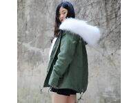 DAYMISFURRY-- White Fox Fur Lined Parka with Raccoon Fur Hood