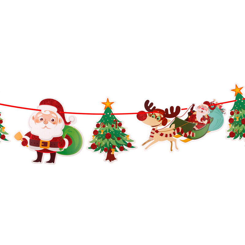 christmas party hanging decor snowman santa claus elk sock banner decor supplies - Christmas Hanging Decorations