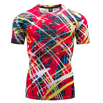 Short Sleeve Graffiti T-shirt Fitness Gym Clothing Breathable Graphic Tops Tee