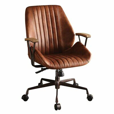 Bowery Hill Leather Swivel Office Chair in Cocoa