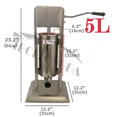 5l Manual Vertical Sausage Stuffer Stainless Steel Meat Filler Brand New