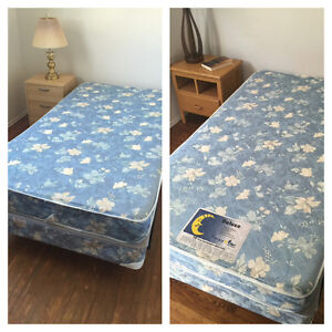 TWO TWIN BEDS WITH FRAME, BOX SPRING & MATTRESS