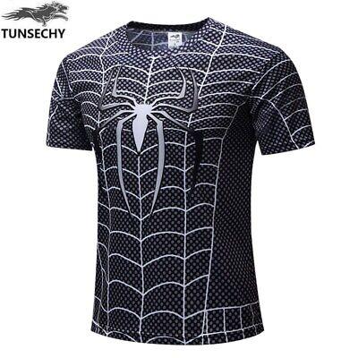 Camiseta Hombre Compresión Spiderman Manga Corta Talla L-XL Nueva